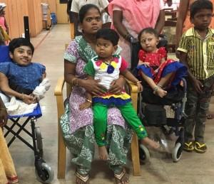 Patient Dhanya , Patient Shravani with her mother, Patient Kusuma & Ashwin, suffering from rare genetic diseases